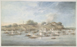 Lord Hastings' flotilla on the river, with many pinnace budgerows